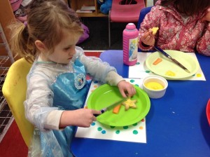 Playing with Playdough at hamilton child care centre