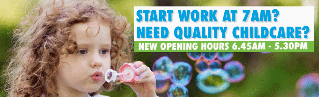 new child care opening hours 6:45 to 5:30pm : child blowing bubbles